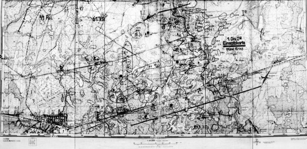 "Original Divisional Map, South of Lake Ladoga January 1943. My grandfathers position at ""1./22"""