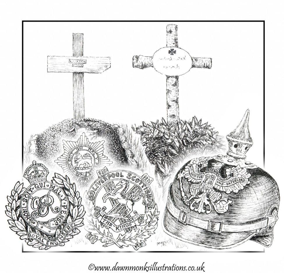 Battle of Bellewaarde Commemorative Pen & Ink Illustration - Dawn Monks Military Art