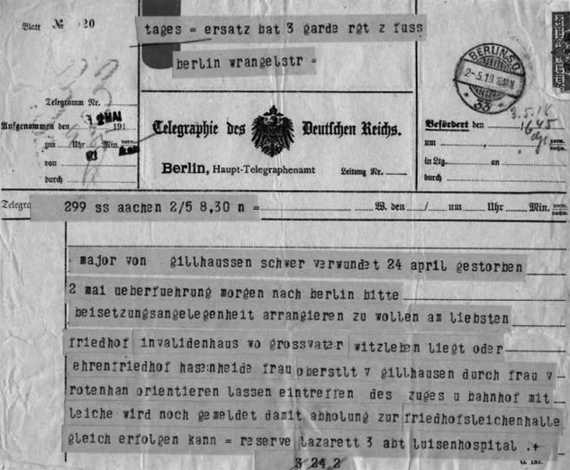Telegram reporting Gillhaußens death