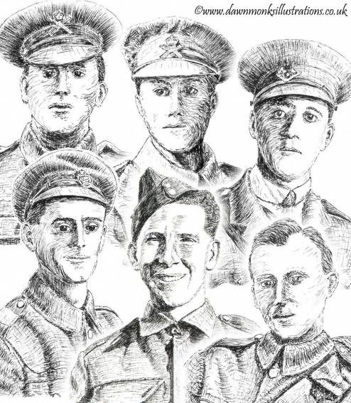 WW1 & WW2 Pen & Ink Portraits - Dawn Monks Military Art
